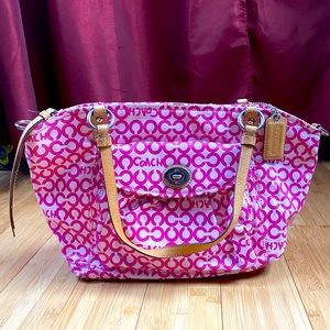 Pink and white medium size coach bag